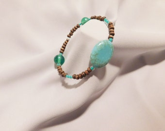 Natural Wood and Turquoise Bracelet
