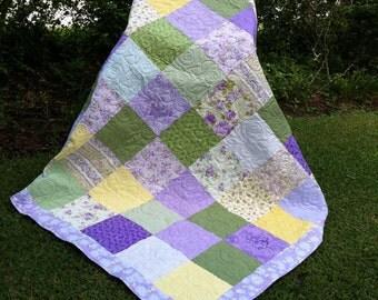 """82"""" x 82"""" Large square lavendar quilt"""