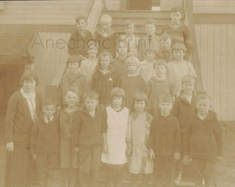 Faded Vintage School Photograph of Elementry Class