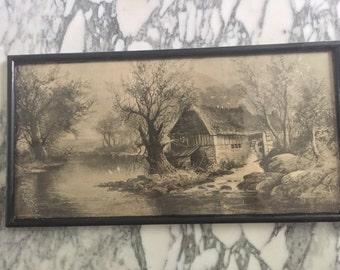 Antique framed print- black and tan