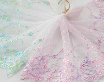 "5 yard 17cm 6.69"" wide pink/green mesh embroidery lace trim trims ribbon L22K160 free ship"
