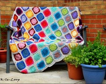 Large Flower Crochet Throw