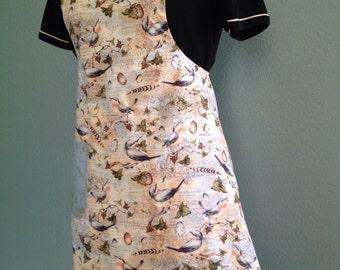 Bird print full apron women, retro full apron women, kitchen apron, retro apron, French country decor apron, barista apron