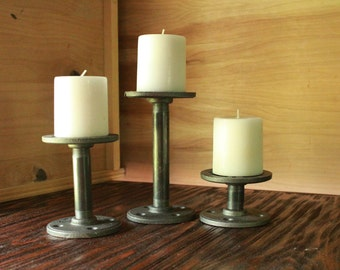 Stairstep Candle Holders, Industrial Black Iron Holders