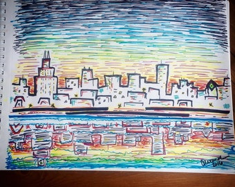 Chicago Sharpie Drawing Print