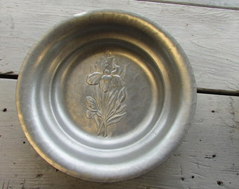 Hammered Aluminum Bowl with Etched Iris Flower