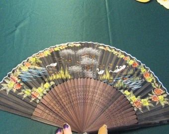 Vintage Japan Black Folding Hand Fan with Flowers and Birds