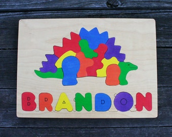 Stegosaurus Picture Name Puzzles, Handmade, Wooden Name Jigsaw Puzzles