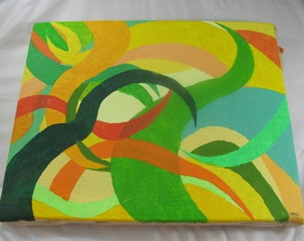 Green & Yellow Abstact Painting