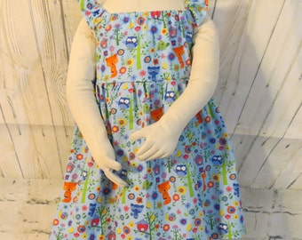 Girls Flutter Sleeve Dress with Tie Back