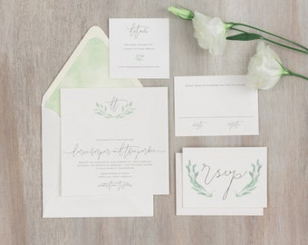 The Eucalyptus Wedding Collection by Paper Daisies, Invitation Suite, Whimsical, SAMPLE SET