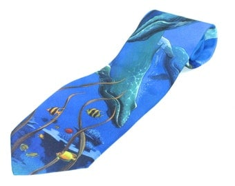 Ralph Marlin Vintage  Mens Neck Tie Entitled Humpback Whales circa 1994