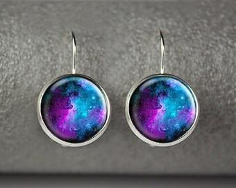 Galaxy earrings, Nebula earrings, Space earrings, Galaxy jewelry