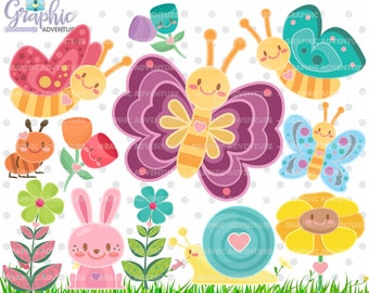 75%OFF - Butterfly Clipart, Butterfly Graphics, COMMERCIAL USE, Kawaii Clipart, Butterfly Party, Planner Accessories, Spring Clipart, Flower
