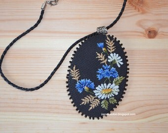 Handmade embroidered cornflower daisy pendant necklace