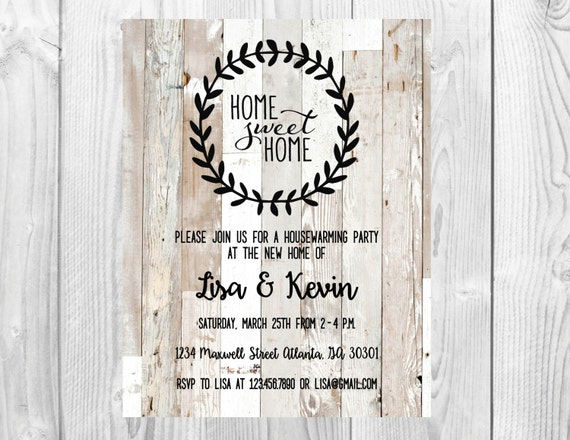 Housewarming Party Invitation << Home Sweet Home Inviation << Vintage Housewarming >> Wood Invite >> Custom Printable Digital File