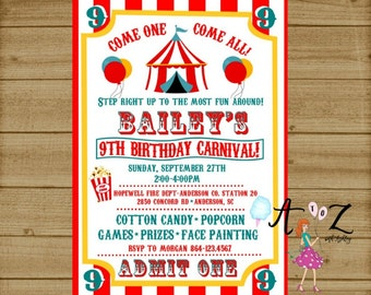 Carnival Birthday Invitation, Carnival Party, Carnival Ticket Invitation, Kids Birthday Party, 1st Birthday Invitation, Any Age, Printable