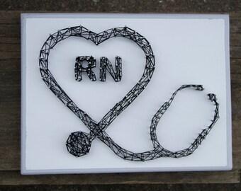 Stethoscope, String Art, Health, RN, Nurse, Custom, Medical Gift