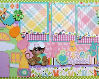 Easter Squeaks- 2 premade scrapbook pages paper piecing 12x12