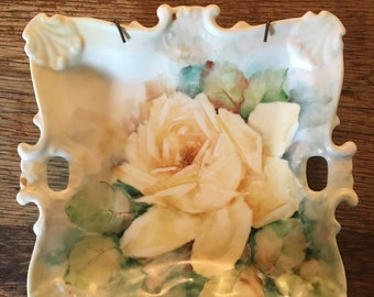Vintage Hand Painted Rose Hanging Plate