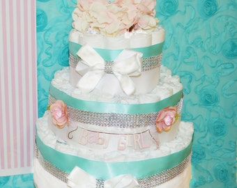 Teal Baby Shower Diaper Cake, Baby & Co. diaper cake