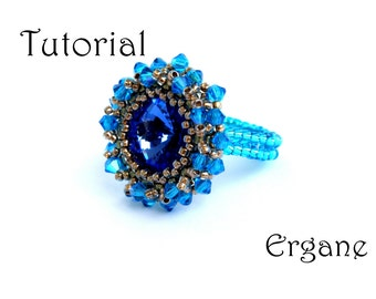 Royal Ring Tutorial, Tutorial ring with 14mm Swarovski rivoli, Beading Tutorial, Jewelry Tutorial, Ergane Beading