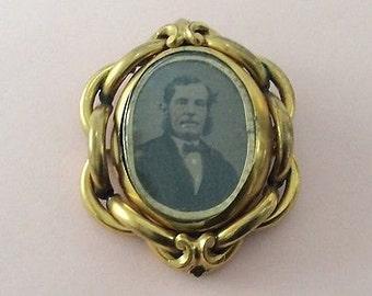 Large Antique Victorian Pinchbeck Photo Swivel Locket 1880