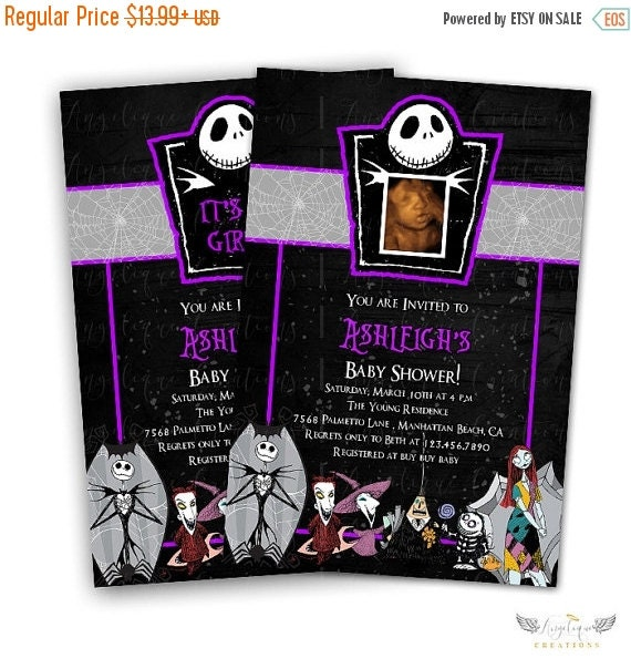 ON SALE Purple Nightmare Before Xmas Invitations & Blank Thank You Card to match