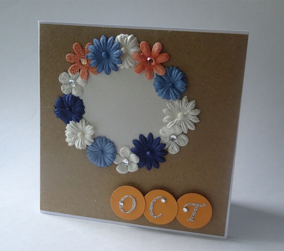 Greeting Cards - Handmade October Monthly Kraft Card with Flowers
