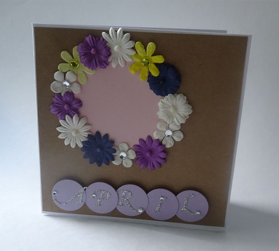 Greeting Cards - Handmade April Monthly Kraft Card with Flowers