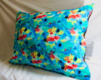 "Big Pillow/Cushion - 36"" x 29"" - with Colour Splash front and Polka-dot back pillowcase"