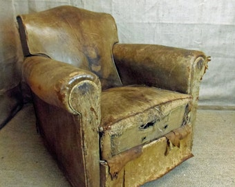 French Leather Art Deco Club Chair armchair early 20thC shabby but comfy