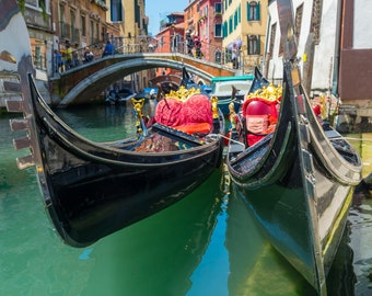 Digital download of photo of Gondola in Venice, Italy. Fine art photography, wall art, travel photography, colourful wall art.