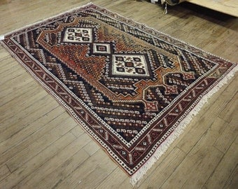 5x7 Persian Afshar Vintage Hand-Knotted Rug 022859