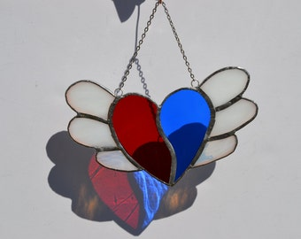 Stained glass heart with wings