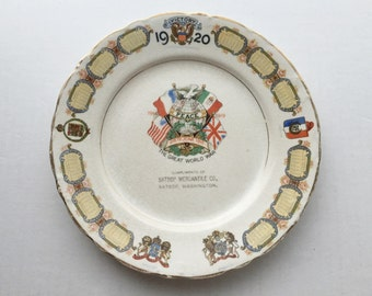 Calendar Commemorative Advertising Plate - 1920 Victory The Great World War