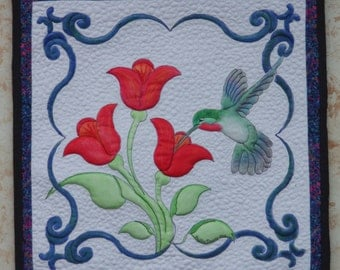 Painted fabric art quilt, hummingbird quilt,