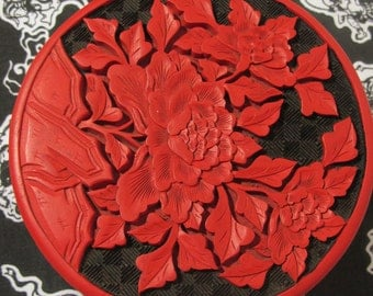 Large Cinnabar Flower Jewelry Box
