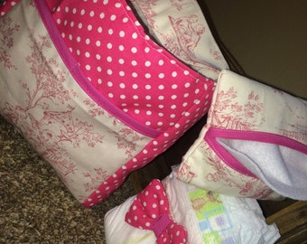 3 pc. Doll diaper bag with extras, baby doll diaper bag, READY TO SHIP!!