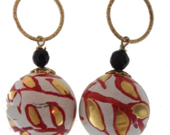Red Gold Line Earrings