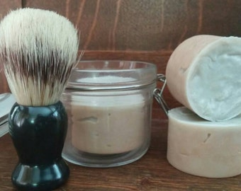 Shaving soap & jar combination -This bar has natural ingredients that are known to nurish skin. Made for shaving. Badger brush Not included.