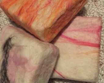 Soapz, hand felted Merino wool, Cherry Almond