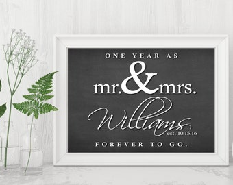 Anniversary Gift, | One Year Anniversary | Printable 1 Year Sign | Custom Anniversary Gift | One Year As Mr And Mrs | Forever To Go