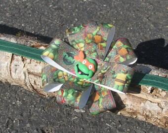 Baby Girl Headband, Ninja turtle, Turtle Headband, Newborn Headband, Baby Headband, Baby girl bow, Hair bows, Green headband, Newborn bows