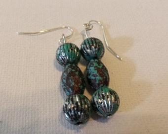 Southwestern Blue Bead Earrings