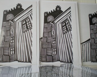 Burg(h) greeting card - linocut on letterpress