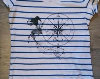 Blue sea-faring illustrated T-shirt