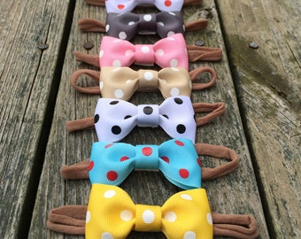 Polka dot bow headband one size infant toddler child