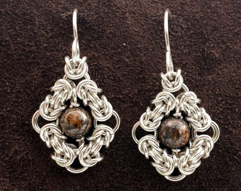 Byzantine Eye Chainmail Earrings - Sterling Silver with Bronzite