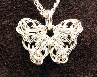 "Tiny Celtic Butterfly Chainmail Pendant - Sterling Silver with 18"" Chain"